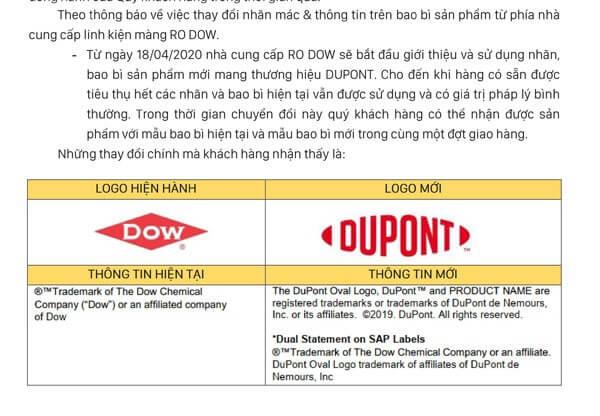 Thông báo đổi Dow thành Dupont
